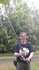 Seriously, the way this photo was taken, the sword looks huge. It's long, but not that long.