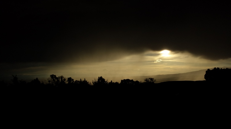 Sunset through the rain clouds.