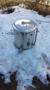 One of the convenient things about snow is that it is helpful to cool the wort after the boil. I need to invest in a wort chiller...