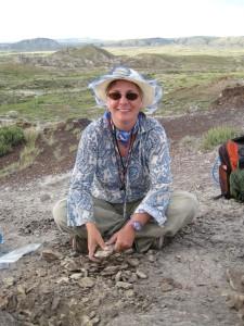 I'm splitting rocks looking for plant fossils.