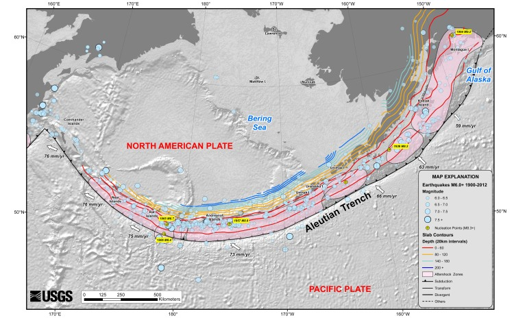 The Aleutian Islands, showing how the Pacific Plate is moving below them. Credit: USGS