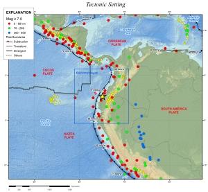 Tectonic setting for the Equador Earthquake. Star indicates epicenter.