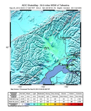 Intensity of the 6.2 magnitude quake near Anchorage. Cool colors indicate low intensity of shaking. Credit: USGS