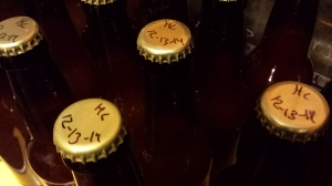 Hard cider bottles.