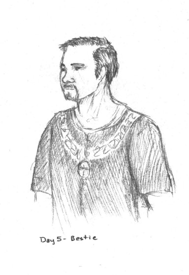 A drawing I did of my husband, in 14th Century garb.