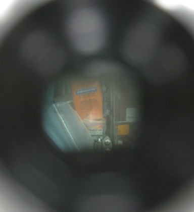 Through the eyepiece. The light spot in the middle is where the two images overlap.