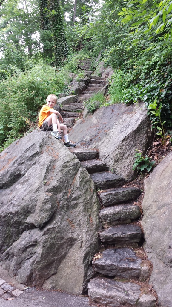 Nice kid on some gneiss stairs.