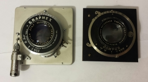 Lenses of the Pacemaker (left) and the Anniversary (right) Speed Graphics, removed from the cameras.