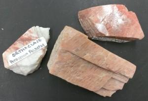 The mineral orthoclase. Also called potassium feldspar or K-spar.