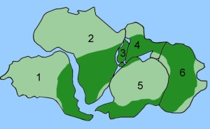 In dark green is the distribution of Glossopteris fossils on the modern continents. Continents have been rearranged into their position during the time of the supercontinent Pangaea.