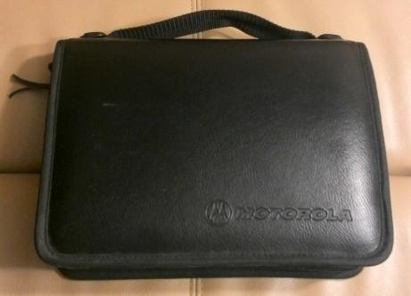 It's big. It's black. It says 'Motorola'.