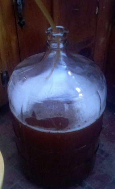Putting the brew into a fresh, clean, carboy.