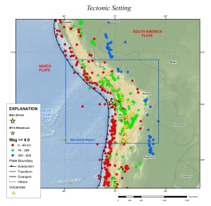 The tectonic setting along the western margin of South America. Stars mark the main- and after-shocks of this earthquake. Credit: USGS