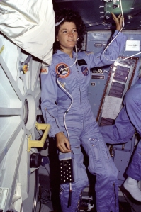 Sally Ride during STS-7 in 1983.