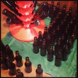45 bottles of porter waiting for caps.