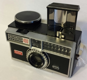 The Instamatic 400 - with the flash open and ready to accept the peanut bulb.