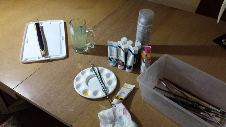 The painting set-up.