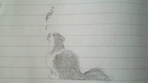 Charlie is frequently a topic of notebook sketches.