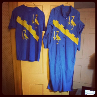 A T-shirt and a lab coat bearing the arms of Herongarde