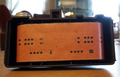 This particular camera still had a roll of 127 film in it when we bought it!