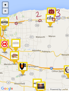 Map showing the approximate locations of the three grocery stores that I visited. Local breweries are also noted. This image comes right from the Untappd app.