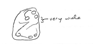 A little sketch of a lower molar of Plesiadapis praecursor noting one of its important features.