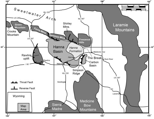Location Map showing where the Hanna Formation lies