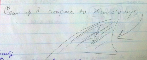 My sketch of Xanclomys reminding myself to compare it with Fractinus