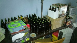 Since I took this photo, I've added 55 bottles of ginger beer and will add 45 bottles of porter very, very soon.