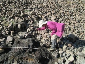 Collecting rocks for isotopic analysis.