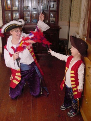 The good Captains Feathersword. My son and I getting ready to Trick or Treat together, a few years ago.