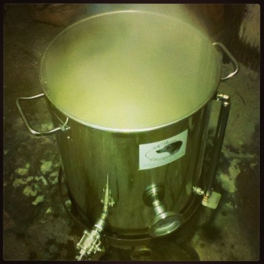 Boiling the wort.