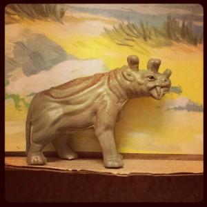 A uintathere. A mammal. Not a dinosaur.