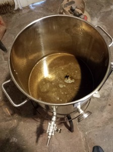 After steeping the grains, it was time to add the malt extracts, honey, and hops and let the wort boil.