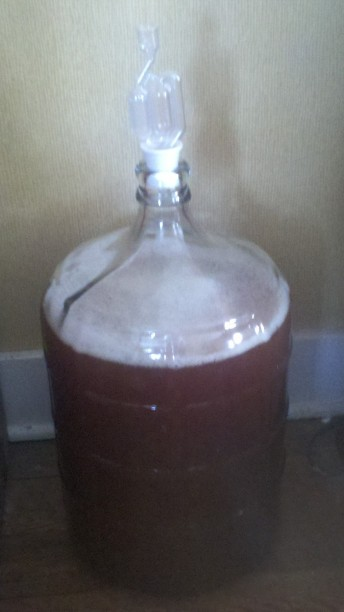 Clarifying in the secondary fermentor.