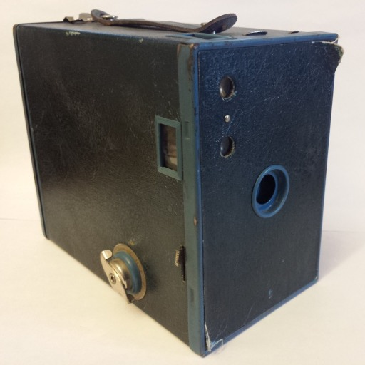 A blue Brownie box camera that belonged to my grandmother.