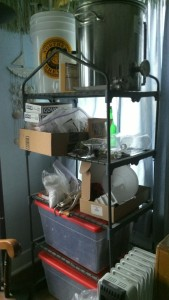 It's a brewing shelf? No, it's a small greenhouse that's been re-purposed.