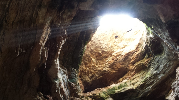 Light beams through the grate.