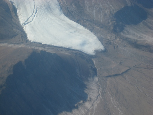 A series of terminal moraines mark where this glacier paused during its retreat to its current position